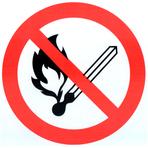 """Знак """"Запрещено пользоваться открытым огнем и курить"""""""