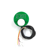 """JSB-Kn-34 Кнопка накладная. Полированный анодированный дюралюминий. Корпус зеленый, кнопка белая. Зеленая подсветка по контуру и надписи """"EXIT"""". В комплекте крепежные элементы, инструкция с установочным трафаретом."""