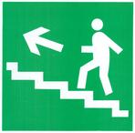 """Знак """"Направление к эвакуационному выходу по лестнице вверх налево"""" с нанес. ф/л Е16"""